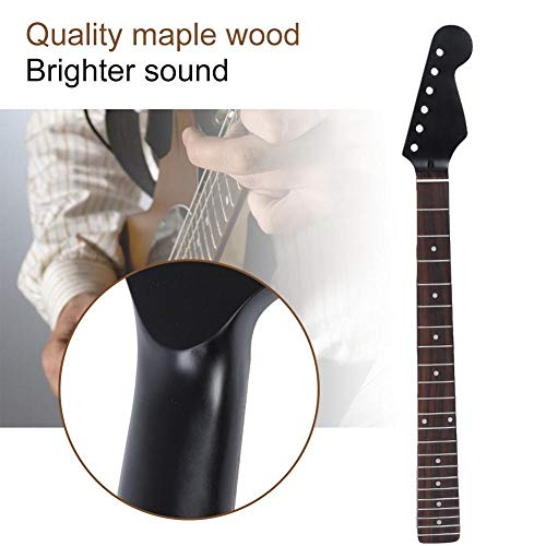 Dilwe Wooden Guitar Neck, 22 Fret Electric Guitar Neck For ST Replacement Parts Instrument(Black) …