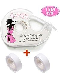TAOHUIEU Fashion Tape, 3 Rolls Doppelseitiges Klebeband für Den Körper, Push-up-Tapes Brusttape Klebe-BH mit Zwei Rollen und Abroller(15 Meters)