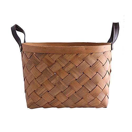 Desirabely Wünschenswert | Künstliche Wicker Ablagekorb Korb Tablett Rechteckige Obst Brot Toilettenartikel Woven Serving Ablagekorb Container Ideal für Haushalt/Picknick/Camping