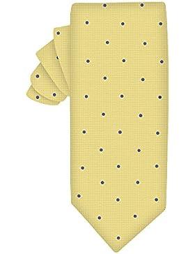 Corbata estrecha oro con lunares azul | 5 años de garantía | Regalos para hombres | Regalos para hombres de Navidad
