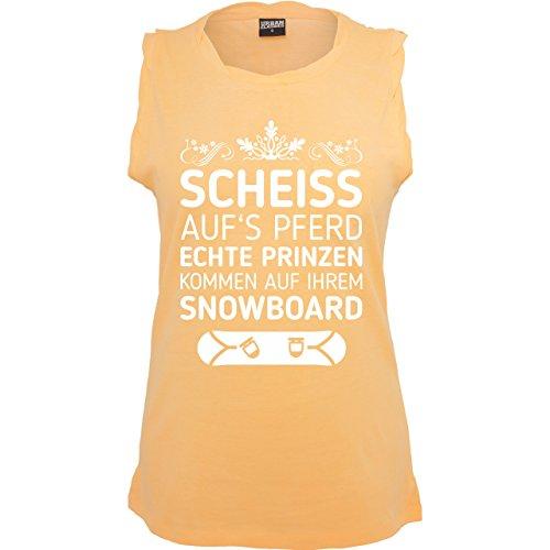 Après Ski - Scheiß aufs Pferd echte Prinzen kommen auf ihrem Snowboard - ärmelloses Damen T-Shirt mit Brusttasche Neon Orange