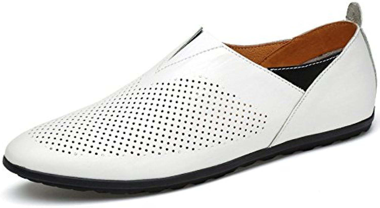 ZLLNSPX Herren Durchbrochen Lederschuhe Persönlichkeit weissh Fuß Gesetzt Einzelne Schuhe Lässig