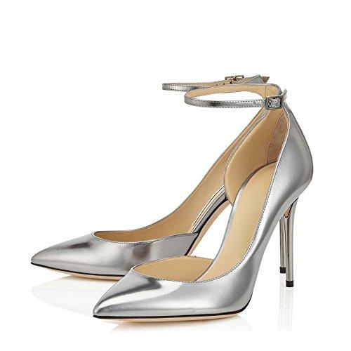 uBeauty Damen Stilettos High Heels Knöchelriemchen Pumps Übergröße Seite Hohl Ankle Buckle Strap Schuhe Silber