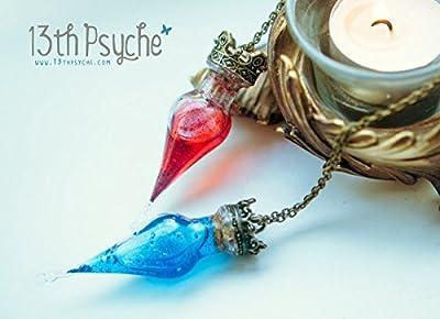 Collier de bouteille de potion de santé. Collier de fiole de potion de mana, collier de gamers, pendentif de potion magique, collier de potion de sorcière blanche, cadeau pour les femmes