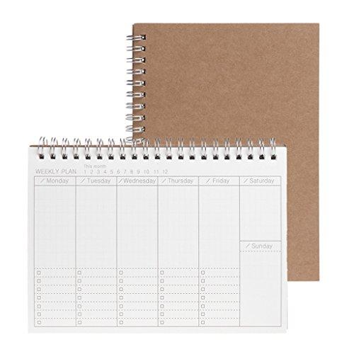 Baiyao - Agenda semanal semanal, agenda en blanco, diario de bricolaje, cuaderno de estudio, papel ecológico, mensual, diario y semanal, color marrón Weekly