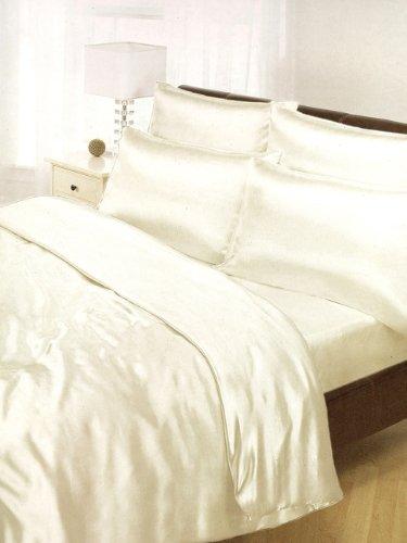 6 Teiliges Doppelbett Satin BETTWÄSCHE Bettzeug Cremefarben (Elfenbein Satin-bettwäsche)