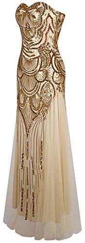 Angel-fashions Damen Paillette Tragerlos Schatz Gitter Schnuren Bankett-Kleid XXLarge Gold - 3