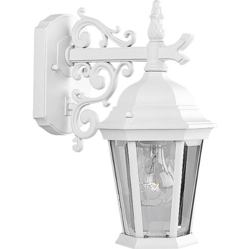 Progress Lighting P5682-30 Wall Lantern with Scroll Arm Combined with The Brilliant Clarity Of Clear Beveled Glass, Textured White by Progress Lighting -