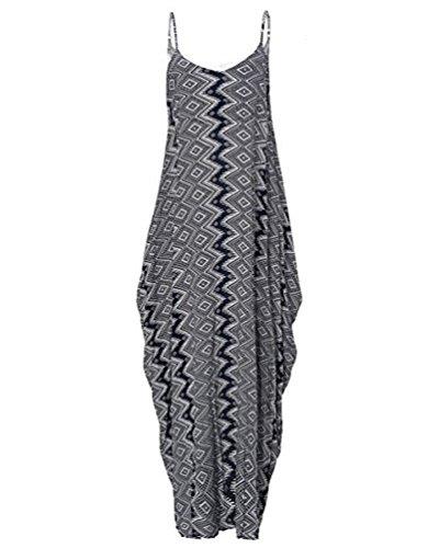 NiSeng Damen V-Ausschnitt Ärmellos Strandkleider Boho Casual Lang Maxikleid Cocktail Beachwear Sommerkleid 1# Schwarz
