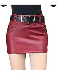d27e40e489 Falda Mujer Faldas de Cuero PU Mini Falda Corta Falda lápiz de Cintura Alta  Faldas Noche