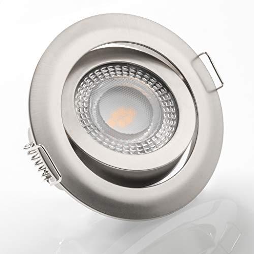 LED Einbaustrahler schwenkbar flach 3000K warmweiß 230V dimmbar Deckenstrahler Einbauleuchte Einbauspot, Farbe:Satin, Einheit:6 Stück