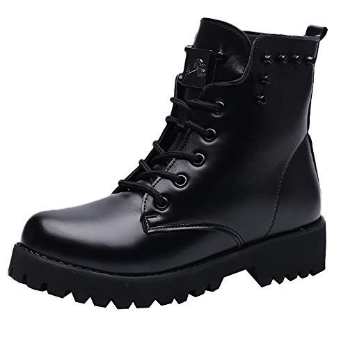 MYMYG Zapatos para Mujer Zapatos Los Hombres de Las Mujeres Atan para Arriba el Motorista Plano Botas Militares del Combate del ejército Negro