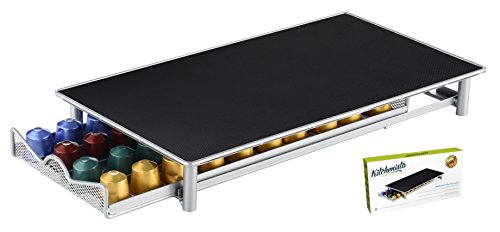 Porte-dosettes Nespresso - Support pouvant contenir 60 capsules empilables - Surface antidérapante et anti-vibration - Étagère à tiroir filet (Gris argenté)