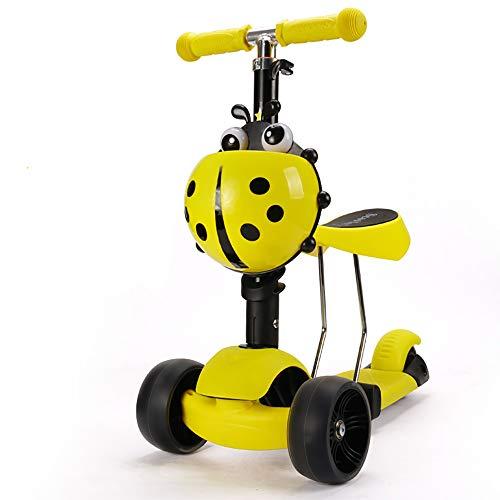 SSLC Kinderroller Kickboard mit verbreiterten Rollen abnehmbarem Sitz,Kinderscooter Laufrad 4 in1 höhenverstellbarer Lenker und LED Leuchtrollen,Tretroller für Babys/Kinder ab 1-5 Jahren, Yellow