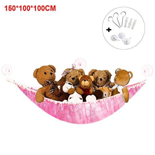 NANAD Spielzeug-Hängematte, Aufbewahrungsnetz für Stofftiere, ideal für Kinderzimmer, Spielzeug, Organisation und Hänge-Organizer, Rose, 180x120x120 (Weiße Bettwäsche-schrank-glas-türen)