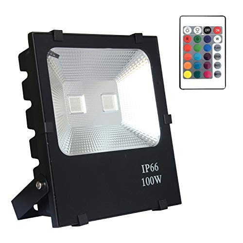 AUFUN LED Proiettore per esterno 100W Lampada Potente Risparmio Energetico Faretto per Giardino impermeabile IP66 Lampade per Esterni Faro - RGB