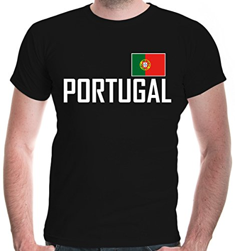 buXsbaum® Herren T-Shirt Portugal   Portuguesa Portogallo Europa Ländershirt Fanshirt Flagge Trikot Reise   M, Schwarz