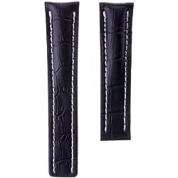 Echtes Leder Uhrenarmband für Breitling, Alligatorprägung, Schwarz und Weiß, Einsatz, 22mm