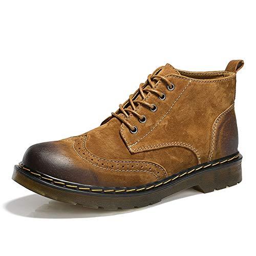 Hombres Botas cómodas Botas de Cuero de Vaca Hombres Botines de Moda Botas de Estilo británico Brogue Zapatos para Hombres