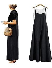 cfaac9ed2df Harri me Women Summer Loose Linen Suspender Overalls Jumpsuit Bib Trousers  Wide Leg Pants Plus Size