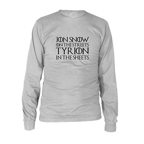 (GoT: Jon Snow on the Streets. Tyrion in the Sheets - Herren Langarm T-Shirt, Größe: XXL, Farbe: weiß)