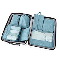 azurely Travel Storage Bag Organiser,7-piece Portable Waterproof Packing Cubes Value Set, Travel Essentials Bag Underwear Finishing Bag for Travel Luggage Clothes Suitcase