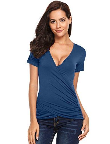 3bdf215c72c00d Beyove Damen Wrap Top V-Ausschnitt Kurzarm Slim Fitted Soft T-Shirt Bluse