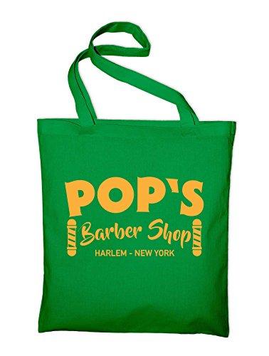 Pop's Barbeshop Harlem New York Jutebeutel, Beutel, Stoffbeutel, Baumwolltasche Grün