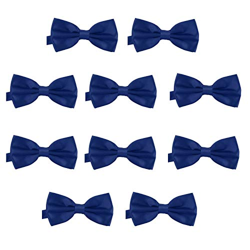 DonDon 10er Set Herren Fliege 12 x 6 cm gebunden und längenverstellbar dunkelblau