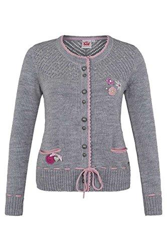 Damen Spieth & Wensky Trachten Strickjacke mit Blumenapplikation grau-rosa, grau-rosa, XL