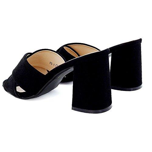 ESSEX GLAM Donna Scivolare su Tacco a Blocco Apri Indietro Finto Scamosciato Sandalo Nero Finto Scamosciato