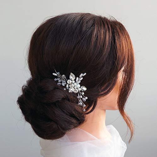 Kercisbeauty da sposa, damigella flower girl blue crystal pettine sposa con pettine copricapo lungo ricci chignon capelli, accessori matrimonio
