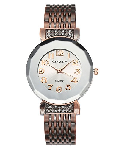 JSDDE Uhren Damen Armbanduhr Chic Manschette multilateralen Rhombus Damenuhr Spangenuhr Armreifen Quarzuhr Rot Bronze Silber