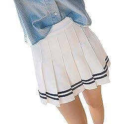 OuYou Moda Cosplay Japonés Plisadas de Cintura Alta Uniformes Estudiantiles Faldas Cortas De Color Sólido a Rayas (Blanco, S)