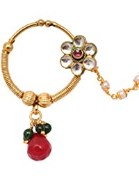 Sushito Pleasant Pearl With Crystals Golden Nose Ring For Women