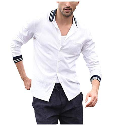 Crazboy Herren Jahrgang Pure Farbe Taste Leinen Einfarbig Lange Ärmel Retro Hemden Tops Bluse(Weiß,XX-Large) (Blau Karierte Party Supplies)