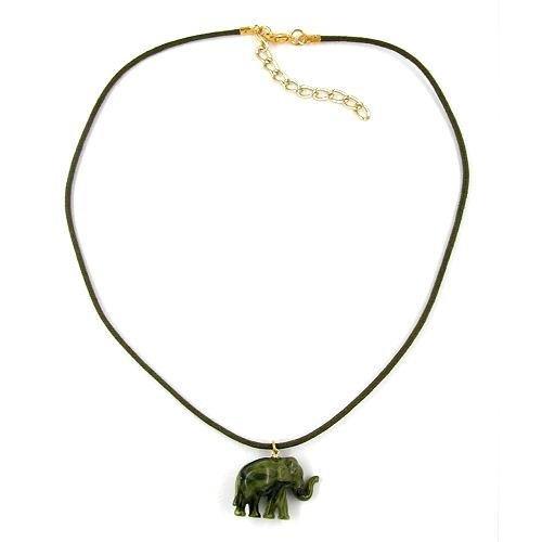 Oliv Marmor (Kette, kleiner Elefant, oliv-marmor)