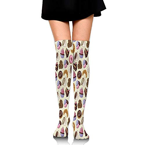 p Themed Image With Cups Cookies Cake Chocolate Artwork Pattern Women's Fashion Over The Knee High Socks (65cm) ()