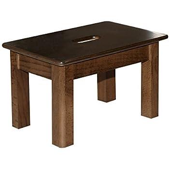 Tabouret/repose-pieds en bois véritable (hêtre, noyer laqué), 30 cm de long, 20 cm de large et 18 cm de haut