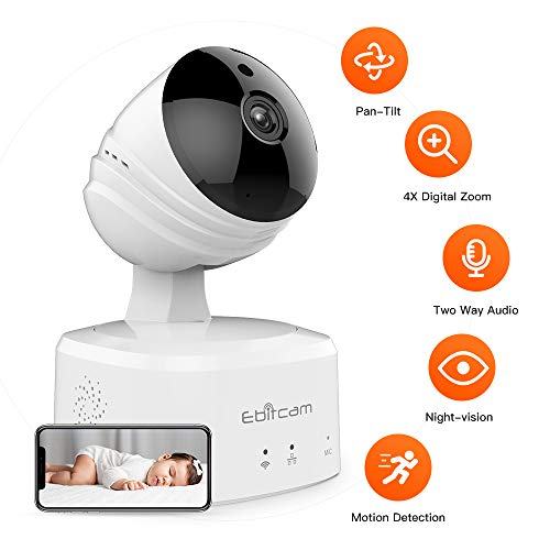 Caméra IP sans Fil 1080P HD, Caméra de Surveillance WiFi de Sécurité,  Caméra IP de Intérieur avec Détection de Mouvement, Vision Nocturne,