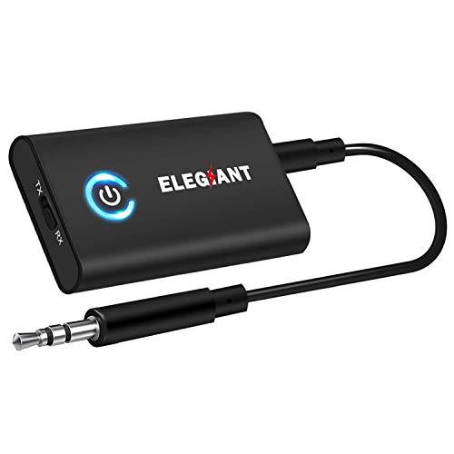 ELEGIANT Transmetteur Bluetooth 5.0 Récepteur et Émetteur Blutooth 2-en-1 Adaptateur Bluetooth sans Fil Jack 3,5mm APTX Faible Latence pour Casque TV IPhone Tablettes Voiture
