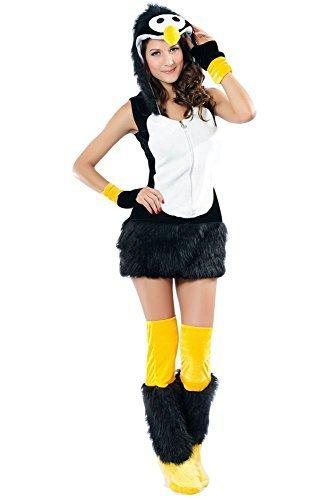 Damen Sexy flauschig Pinguin Tier Weihnachtskostüm Outfit UK -