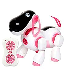 A M Enterprises Plastic Musical Puppy Toy, White and Pink