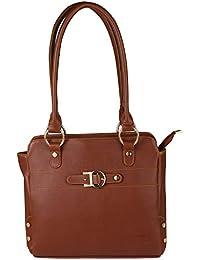 Waao PU Leather Brown Hand Bag For Women