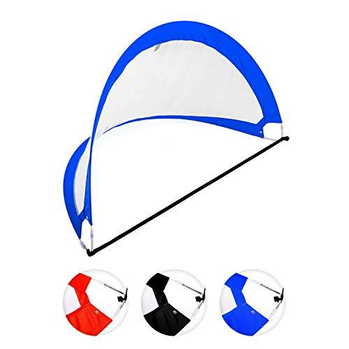 Fußballtor / Torwand - Größe 121x81x81cm inkl. Tragetasche & Heringen / verstärkter Rahmen für hohe Stabilität - das ideale Pop Up-Tor bzw. Goal (Falttor / Spieltor) zum Fußball-Training Blau