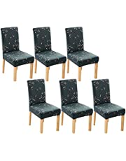 House of Quirk Elastic Chair Cover Stretch Removable Washable Short Dining Chair Cover Protector Seat Slipcover - Branch Teal (Pack of 6)