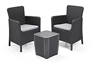 allibert lounge set in rattanoptik trenton balkon graphit 3 teiliges lounge set. Black Bedroom Furniture Sets. Home Design Ideas
