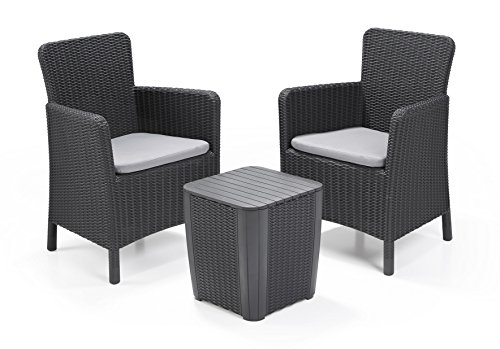 Allibert Lounge Set in Rattanoptik, Trenton Balkon Graphit, 3 ...