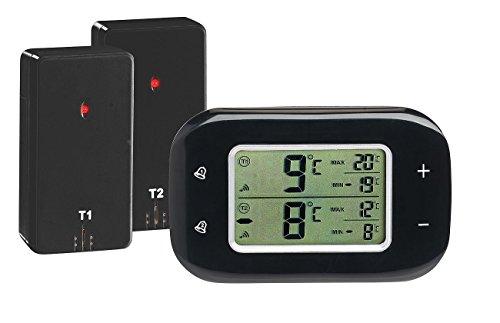 Rosenstein & Söhne Thermometer Kühlschrank: Digitales Kühl- & Gefrierschrank-Thermometer, 2 Funk-Sensoren, schwarz (Gefrierschrankthermometer)