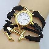 Schöne Uhren, Frauen unendlich Boot Anker Lederband Quarz Analog weben Armbanduhr (farbig sortiert) ( Farbe : Schwarz , Großauswahl : Für Damen-Einheitsgröße )